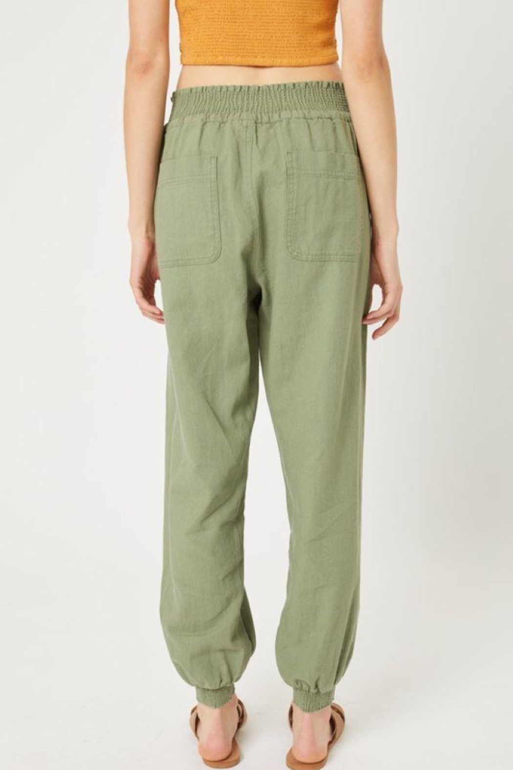 Love Tree Elastic Waistband Pants - Front Cropped Image