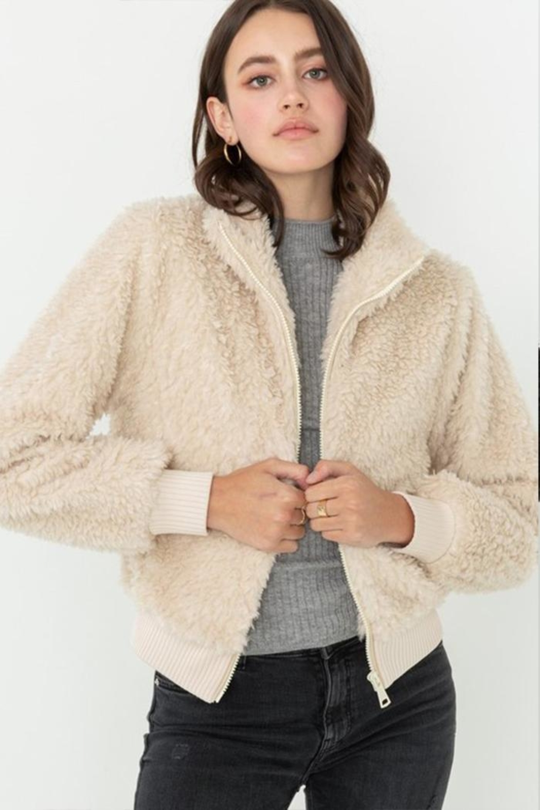 Love Tree Faux-Fur Bomber Jacket - Front Cropped Image