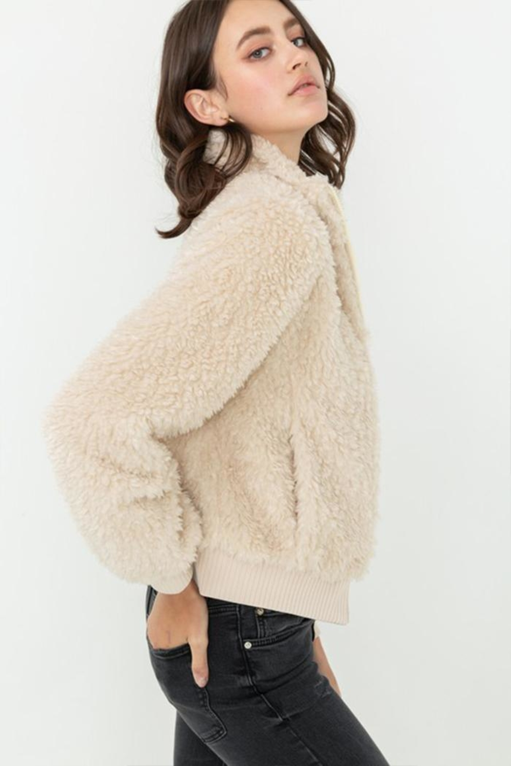Love Tree Faux-Fur Bomber Jacket - Front Full Image