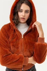 Love Tree Faux Fur Hoodie - Front cropped