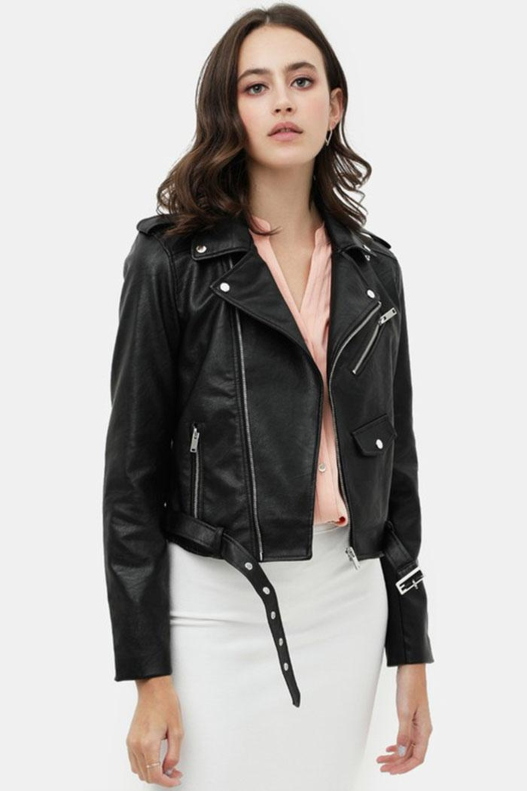 Love Tree Faux Leather Jacket - Front Full Image