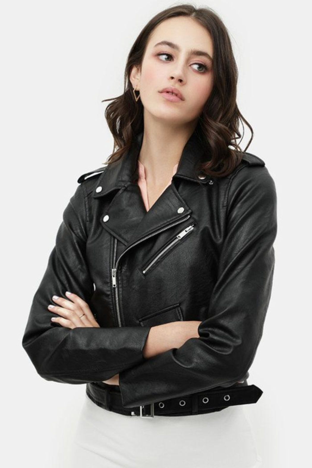 Love Tree Faux Leather Jacket - Back Cropped Image