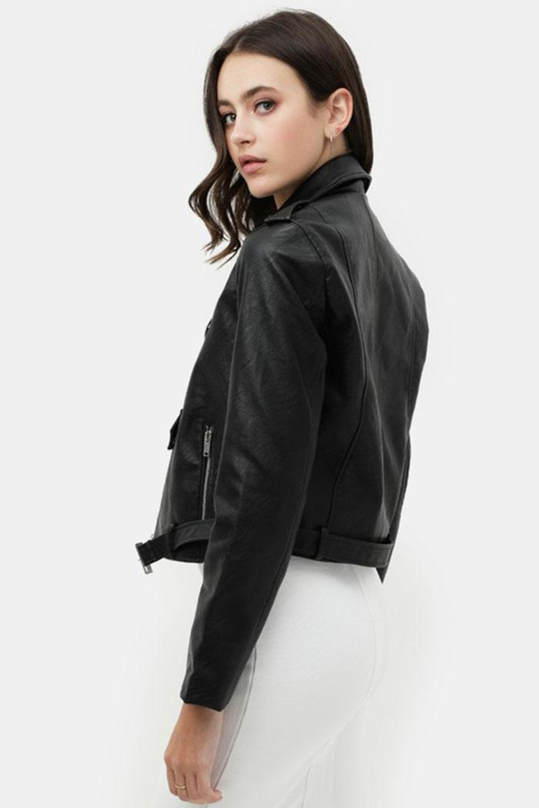 Love Tree Faux Leather Jacket - Side Cropped Image