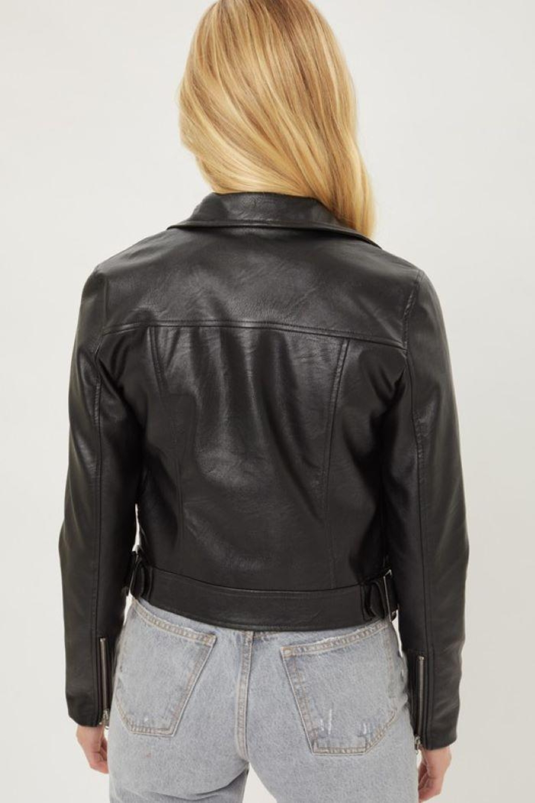 Love Tree Faux Leather Moto Jacket - Side Cropped Image