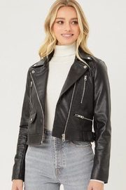 Love Tree Faux Leather Moto Jacket - Front cropped