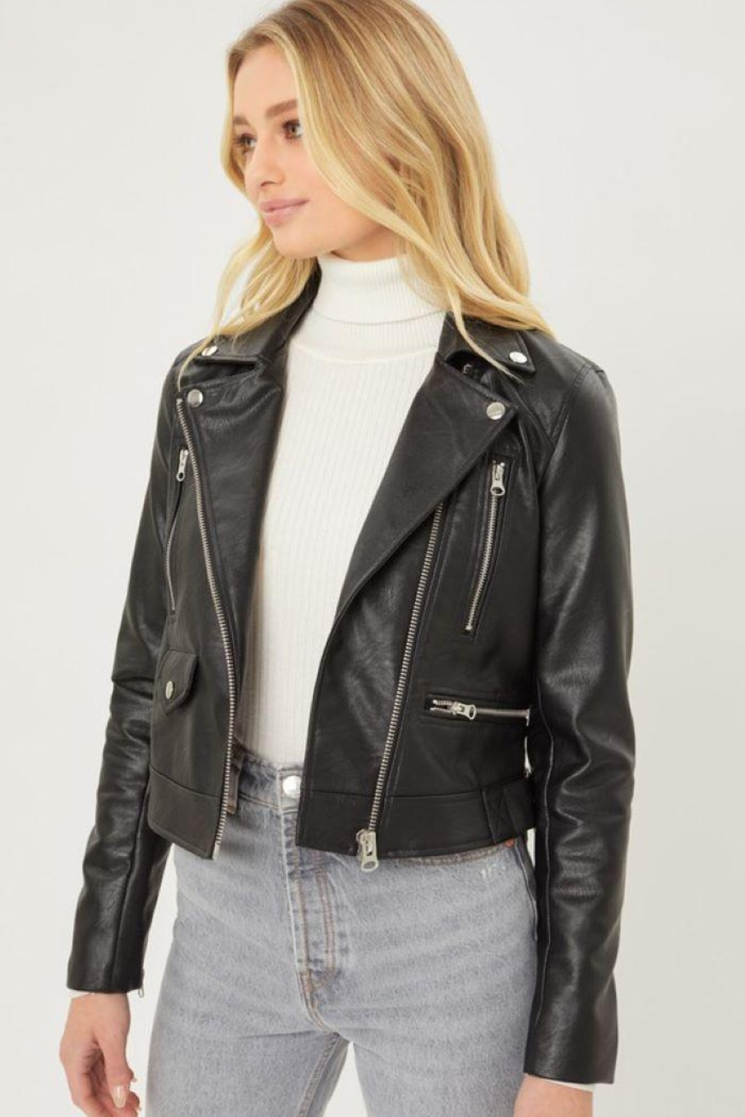 Love Tree Faux Leather Moto Jacket - Front Full Image
