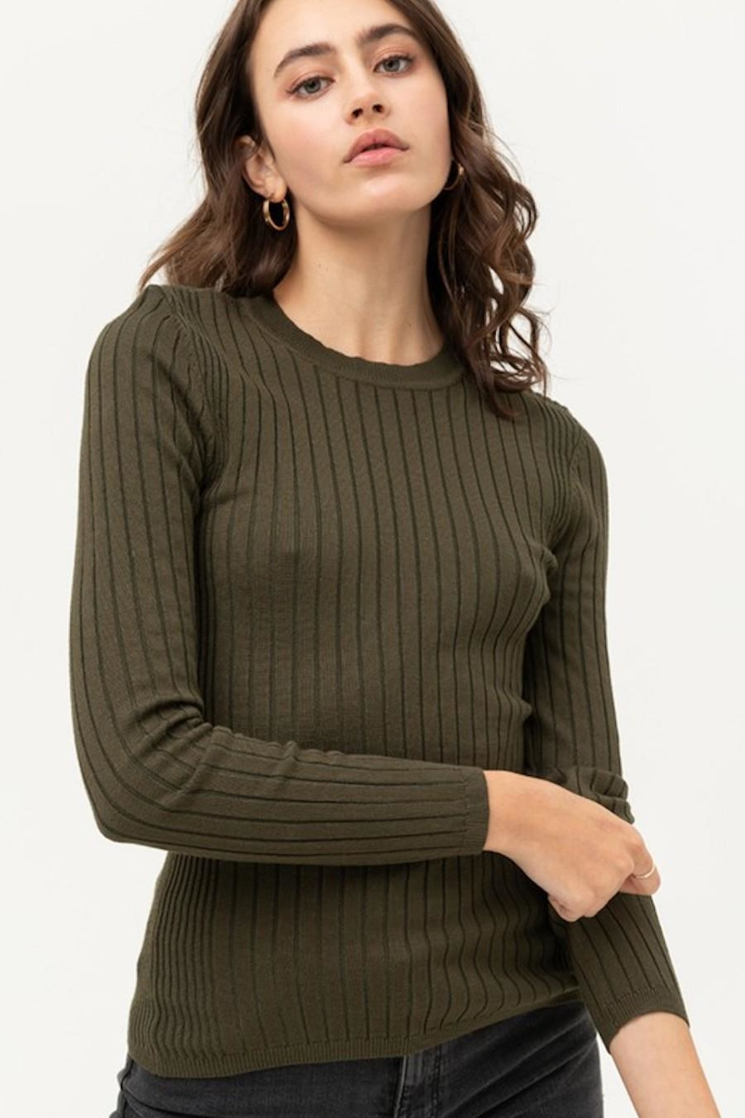 Love Tree Fitted Ribbed Sweater - Main Image
