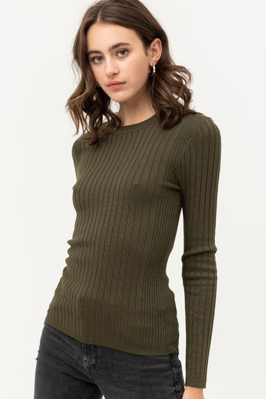 Love Tree Fitted Ribbed Sweater - Front Full Image