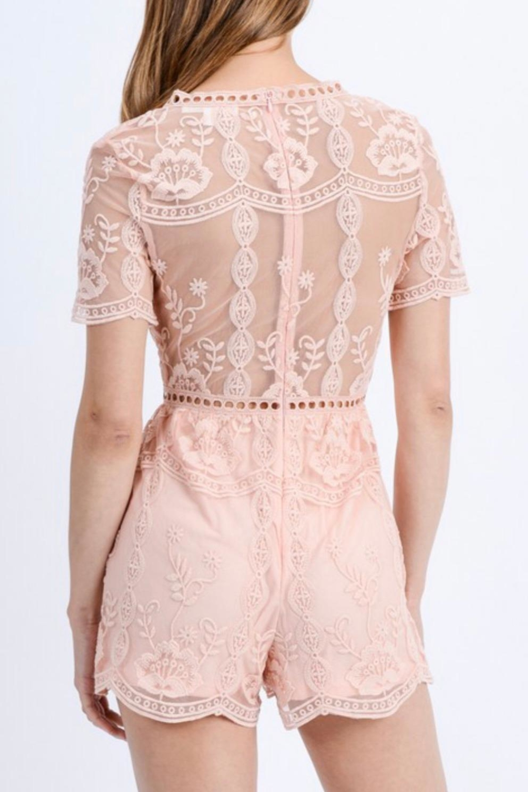 Love Tree Floral Lace Romper - Back Cropped Image