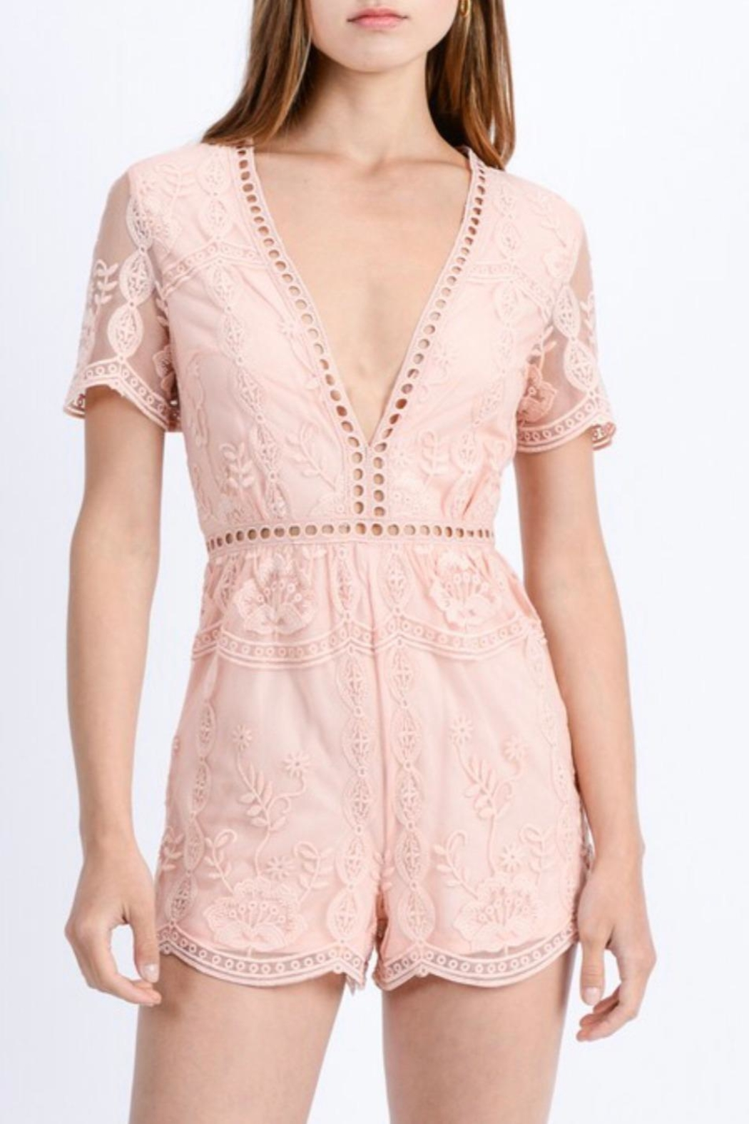 Love Tree Floral Lace Romper - Front Full Image