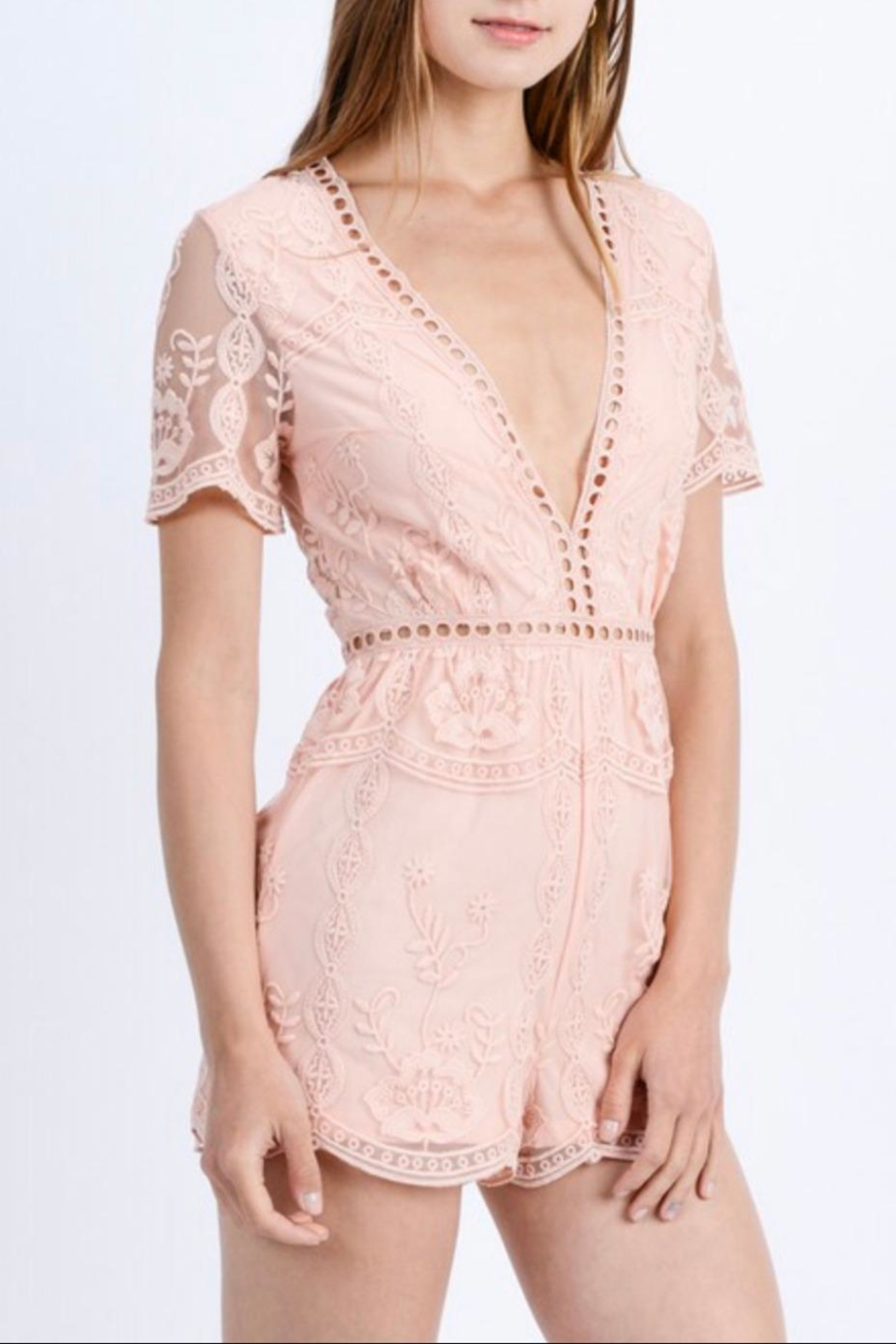 Love Tree Floral Lace Romper - Main Image