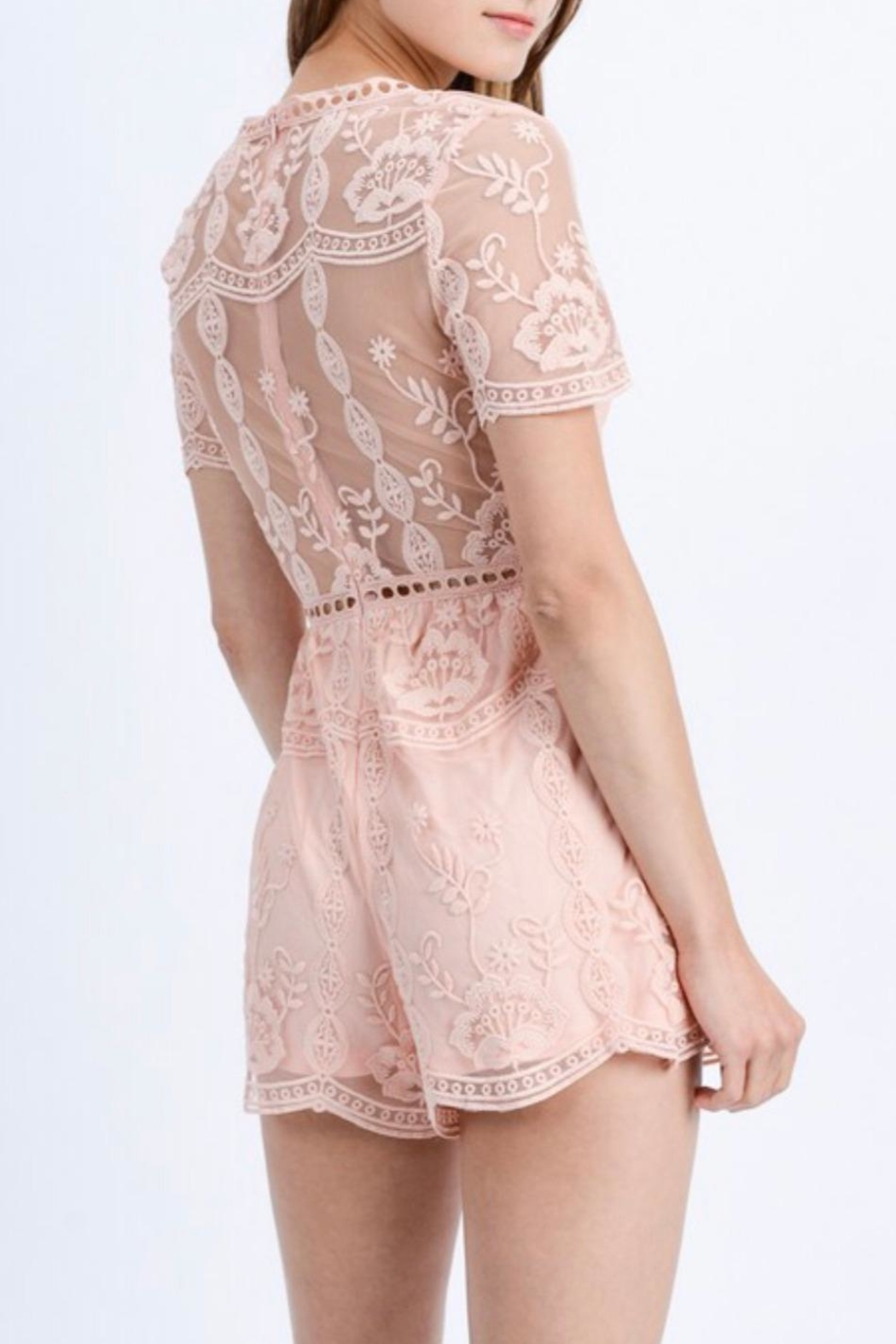 Love Tree Floral Lace Romper - Side Cropped Image
