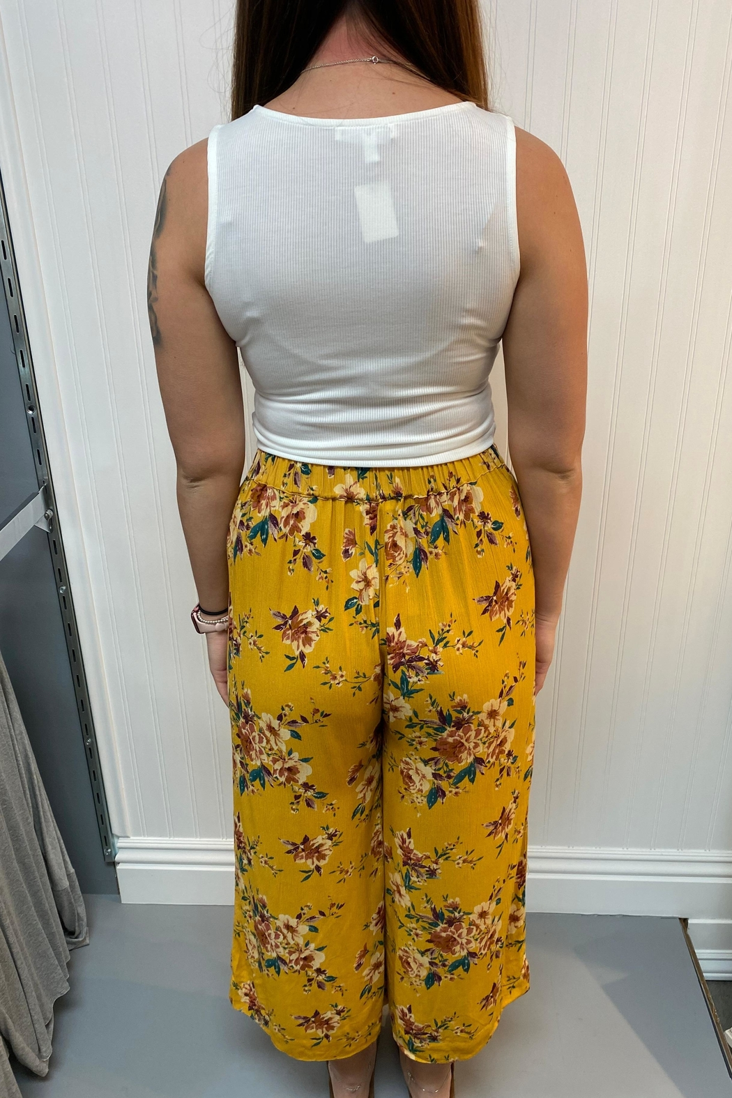 Love Tree Floral Palazzo Pants - Front Full Image