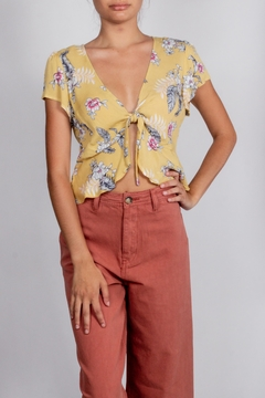 Love Tree Floral-Tie-Front Short-Sleeve Top - Product List Image