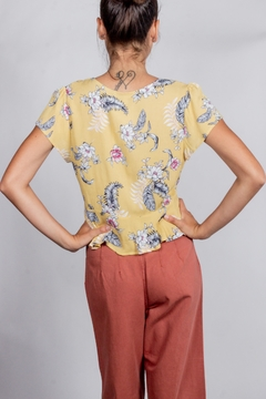 Love Tree Floral-Tie-Front Short-Sleeve Top - Alternate List Image