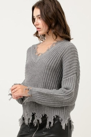 Love Tree Fringed Ripped Sweater - Product Mini Image