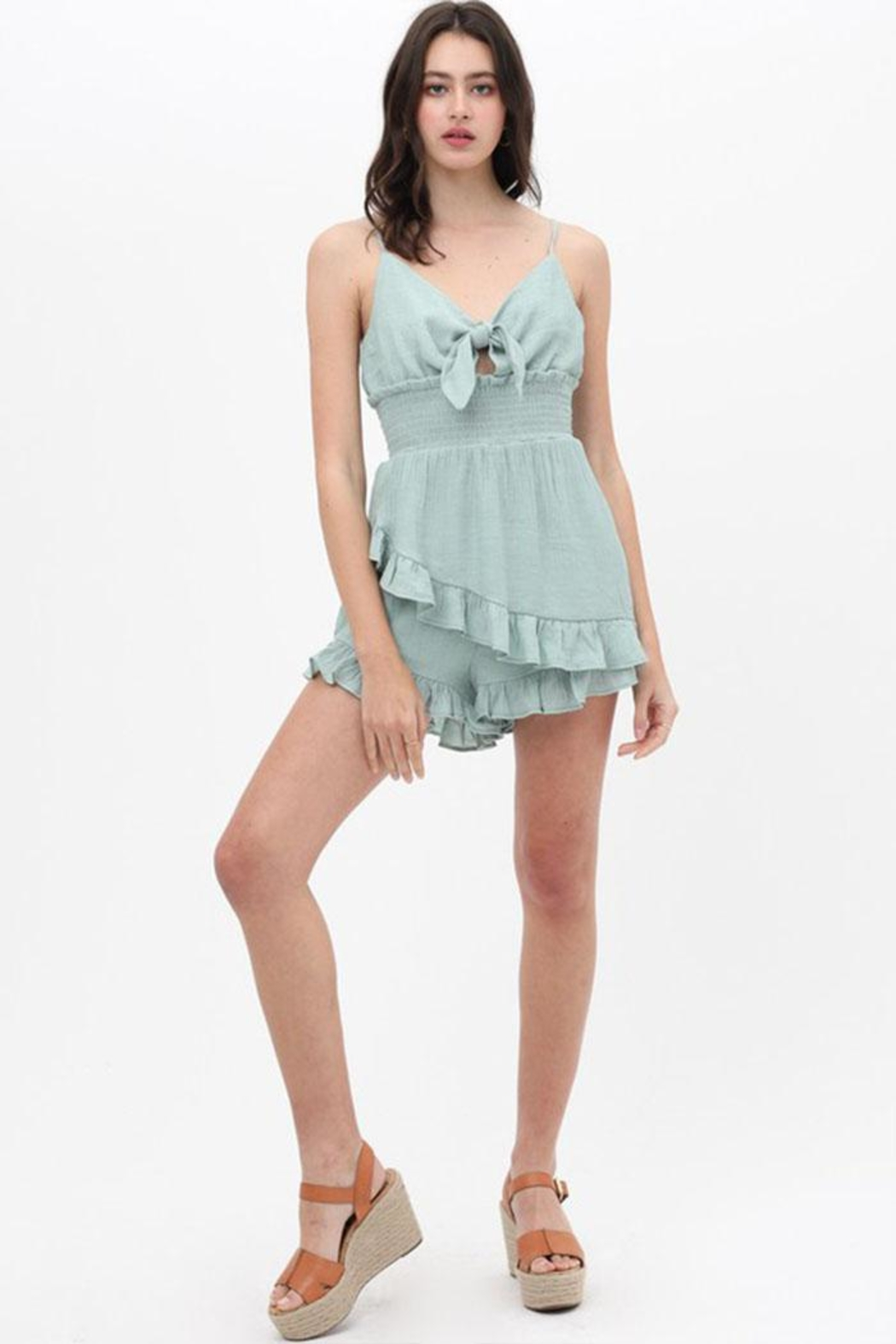 Love Tree Front Tie Romper - Back Cropped Image
