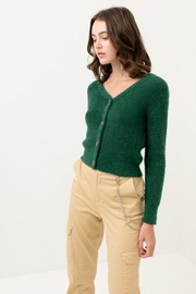 Love Tree Fuzzy Button Cardigan - Back cropped