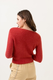 Love Tree Fuzzy Button Cardigan - Side cropped