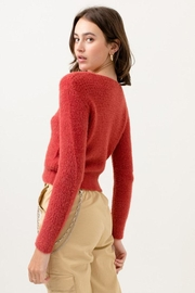 Love Tree Fuzzy Button Cardigan - Front full body