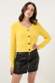 Love Tree Fuzzy Button Cardigan - Front cropped