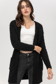 Love Tree Fuzzy Popcorn Cardigan - Back cropped