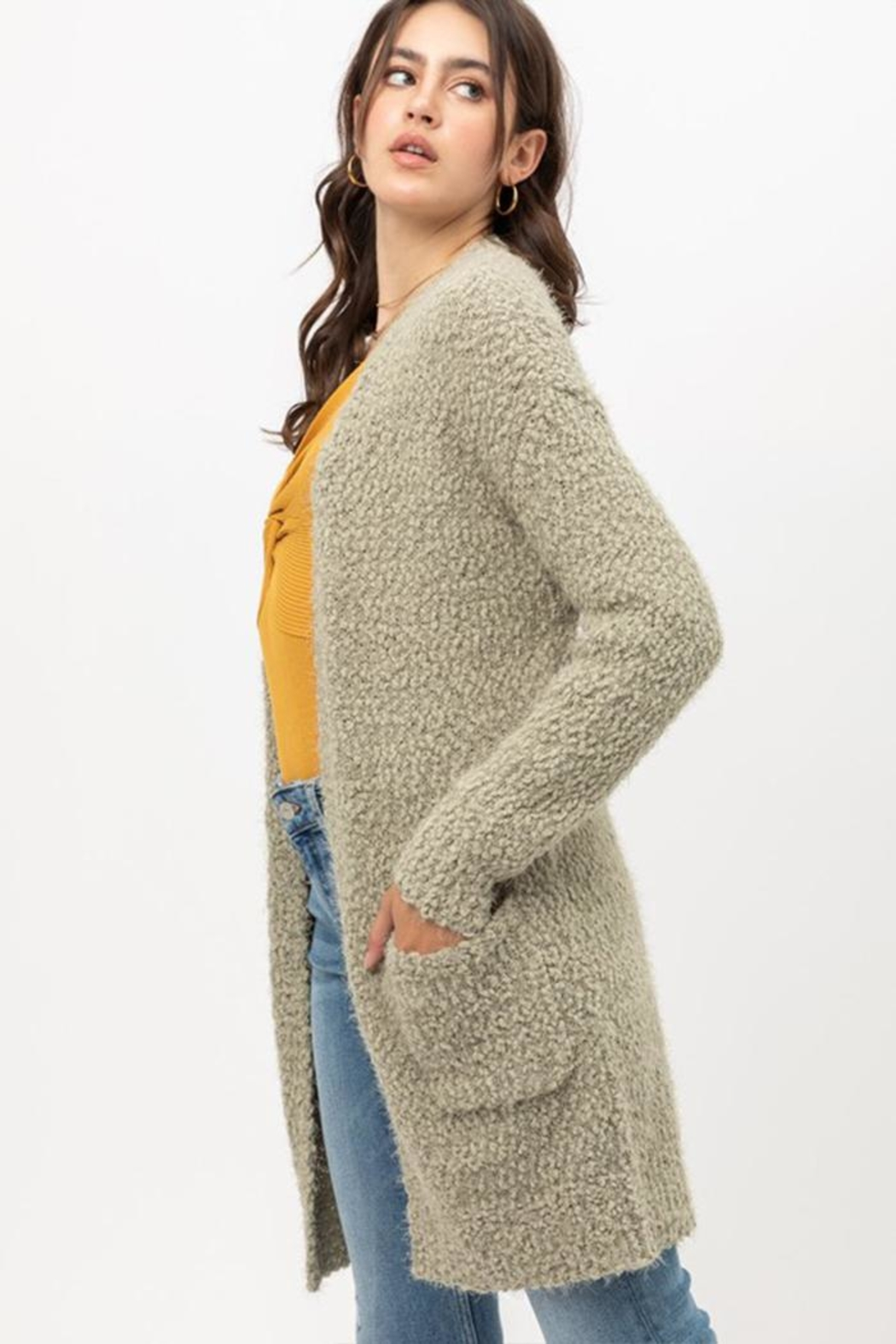 Love Tree Fuzzy Popcorn Cardigan - Front Full Image