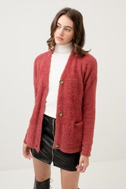 Love Tree Fuzzy Sweater Cardigan - Front cropped