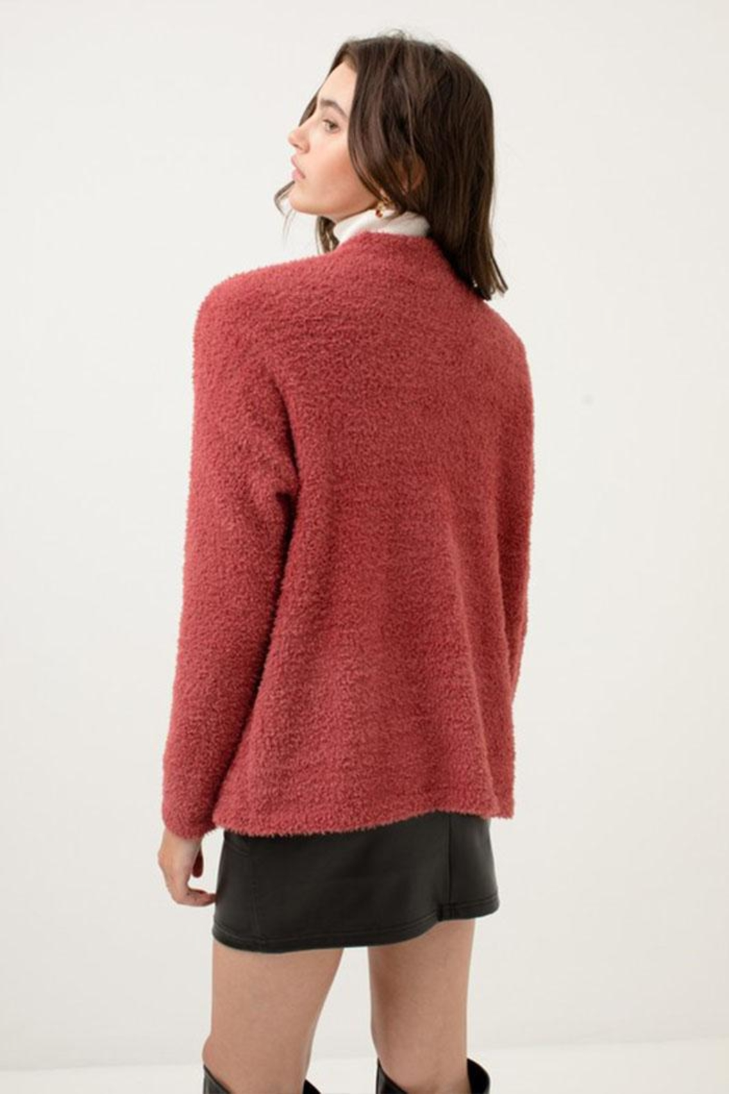 Love Tree Fuzzy Sweater Cardigan - Back Cropped Image