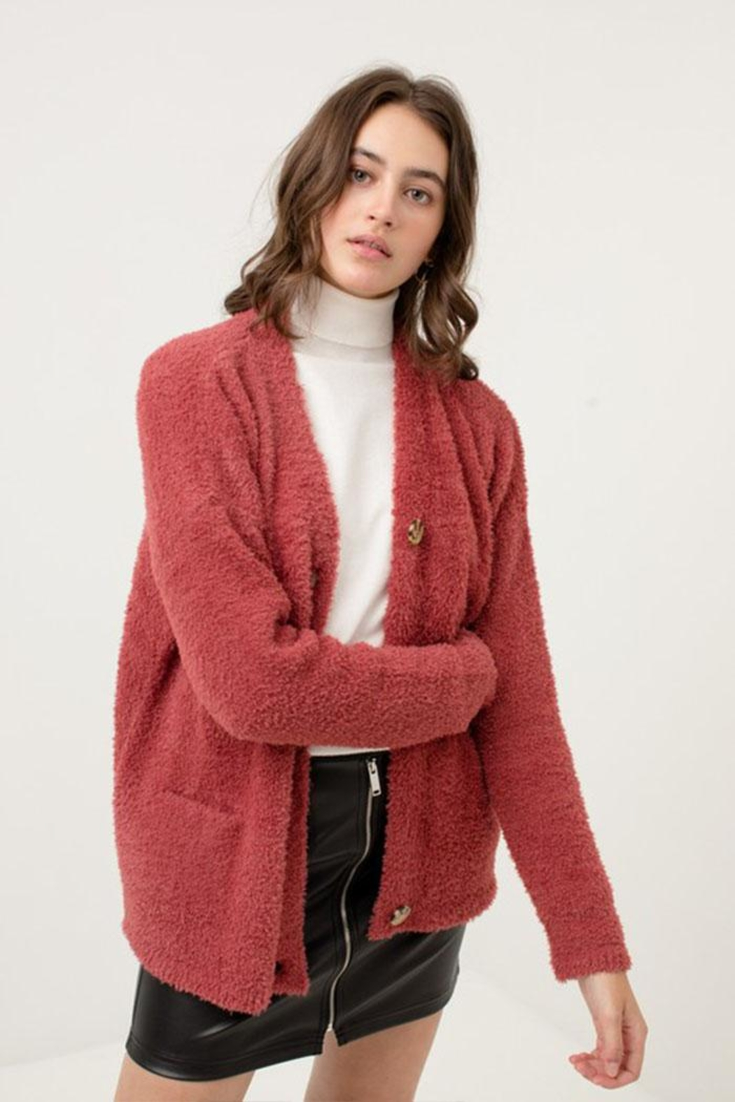 Love Tree Fuzzy Sweater Cardigan - Front Full Image