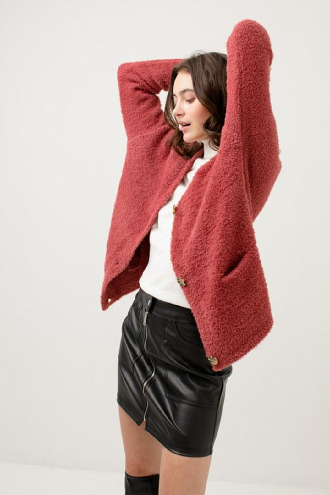 Love Tree Fuzzy Sweater Cardigan - Side Cropped Image