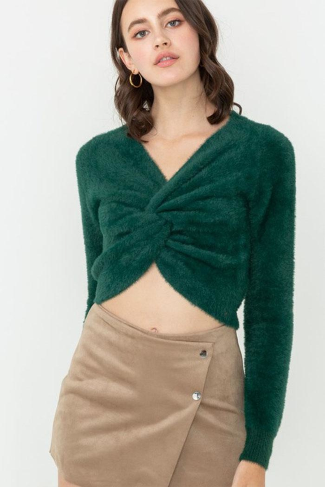 Love Tree Fuzzy Twist Sweater - Front Cropped Image