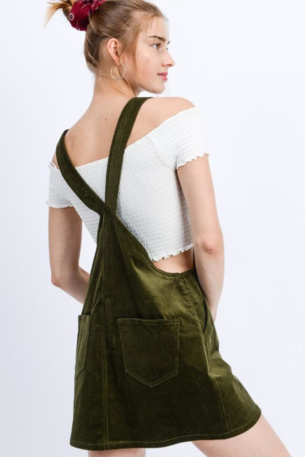 Love Tree Green Corduroy Mini-Dress - Side Cropped Image
