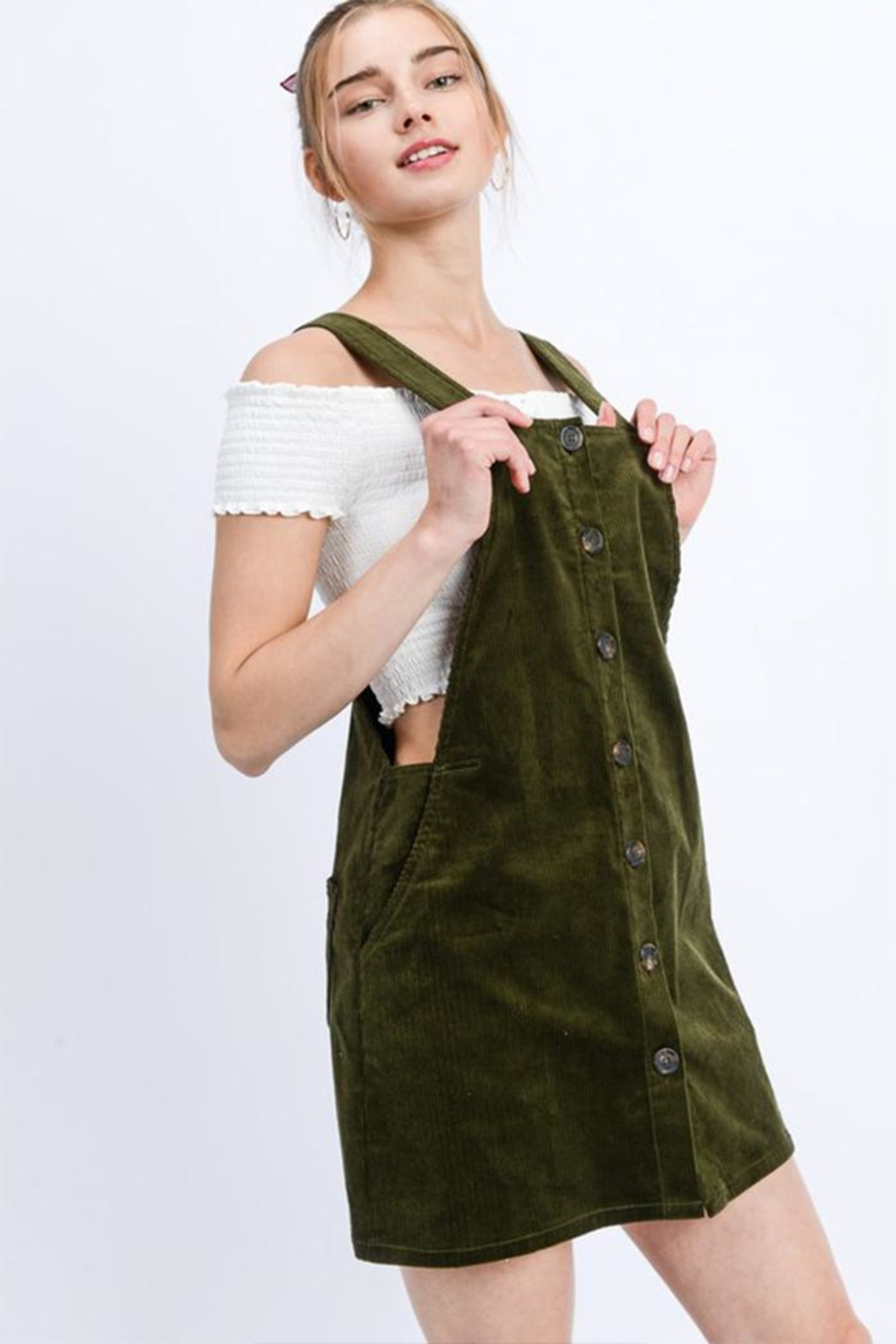 Love Tree Green Corduroy Mini-Dress - Front Cropped Image