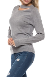 Love Tree Grey Choker Sweater - Front cropped