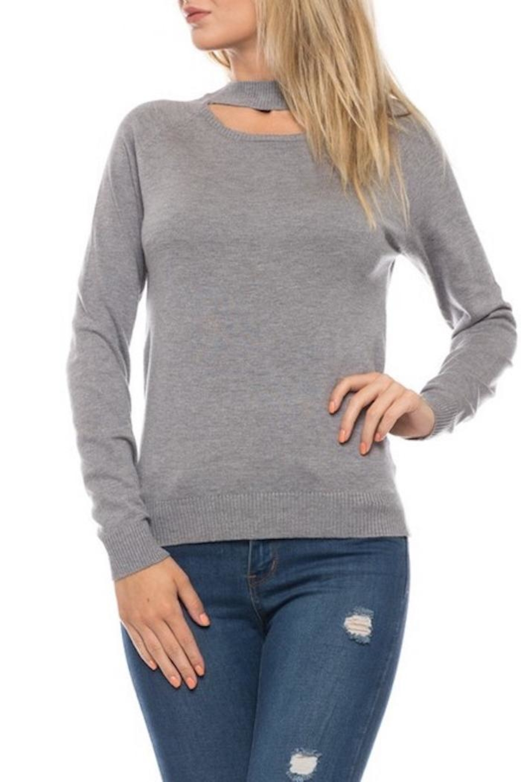 Love Tree Grey Choker Sweater - Side Cropped Image