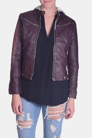Love Tree Hooded Vegan-Leather Jacket - Front cropped