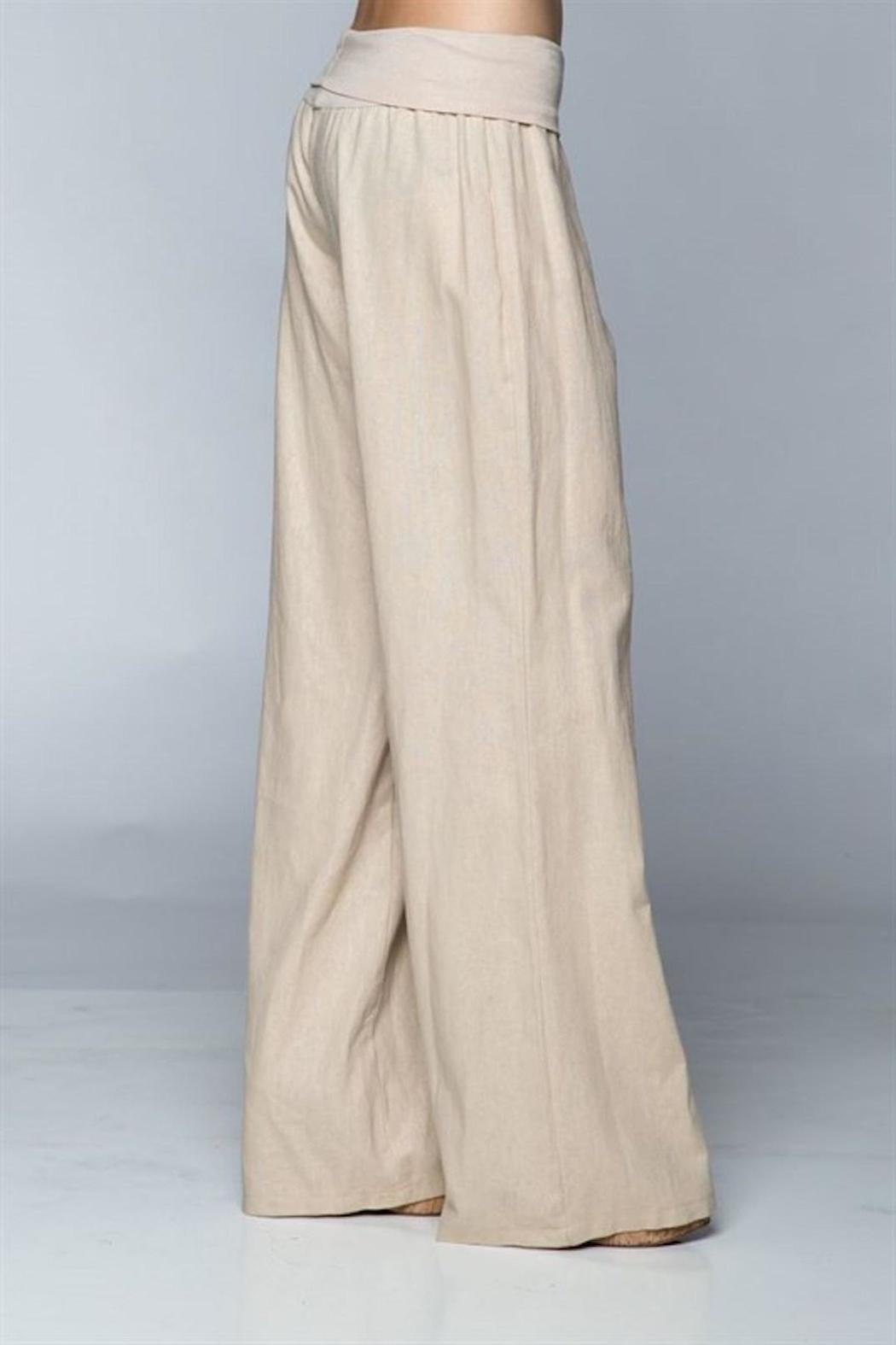 Love Tree Khaki Linen Pants - Front Full Image