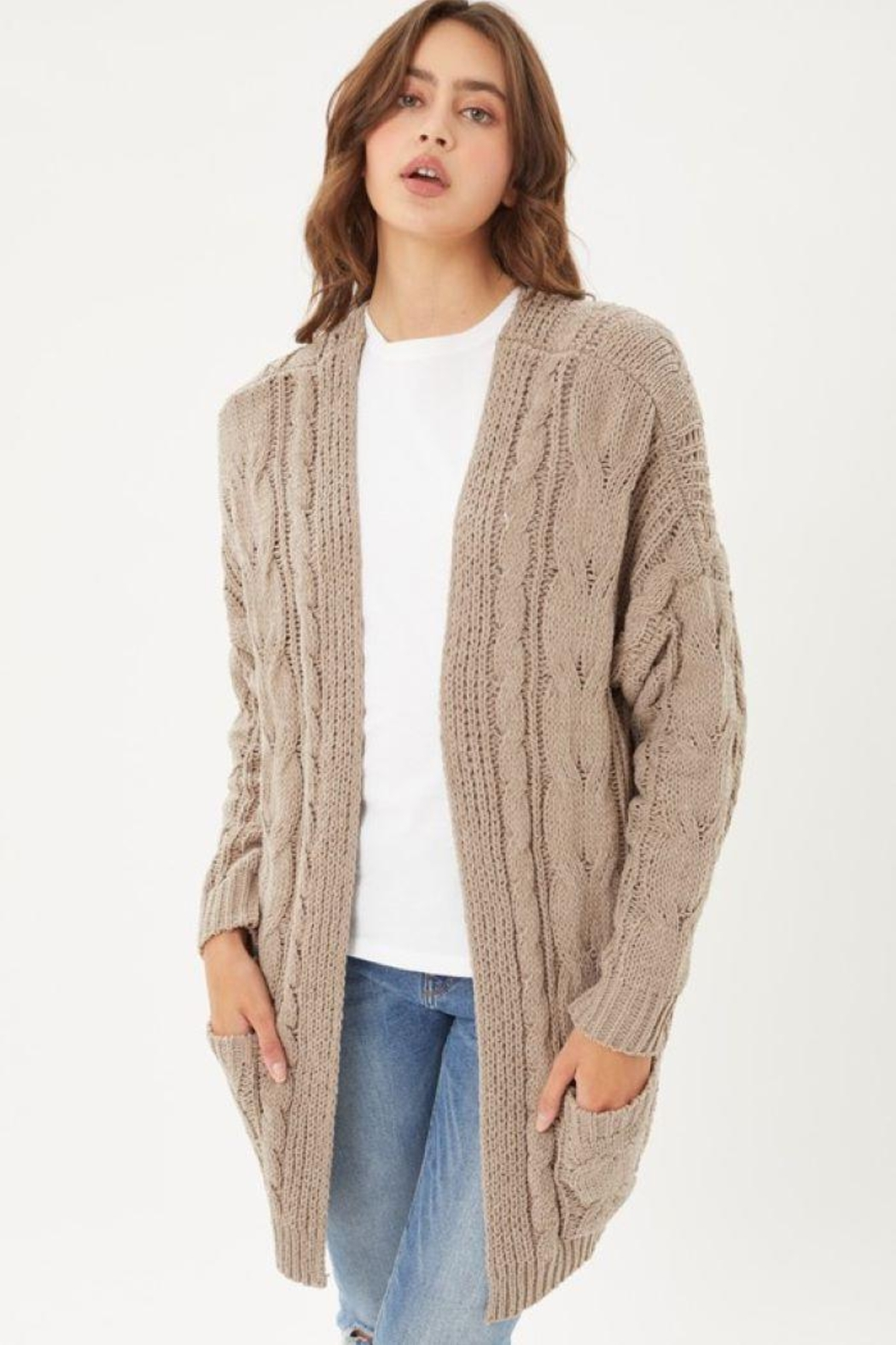 Love Tree Knitted Cable Ribbed Open Front Cardigan - Front Cropped Image