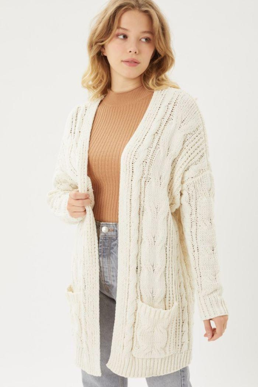 Love Tree Knitted Cable Ribbed Open Front Cardigan - Main Image
