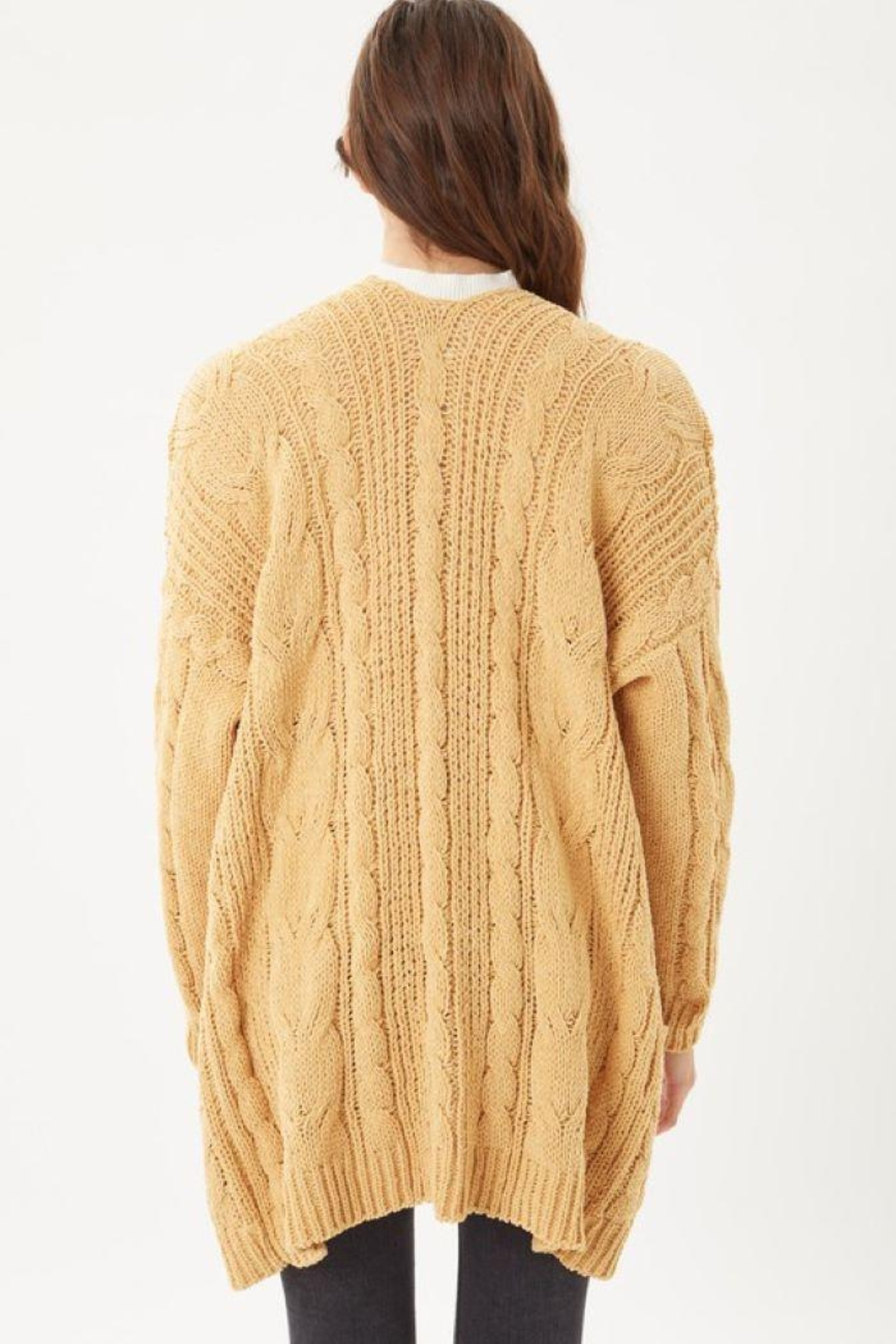 Love Tree Knitted Cable Ribbed Open Front Cardigan - Side Cropped Image