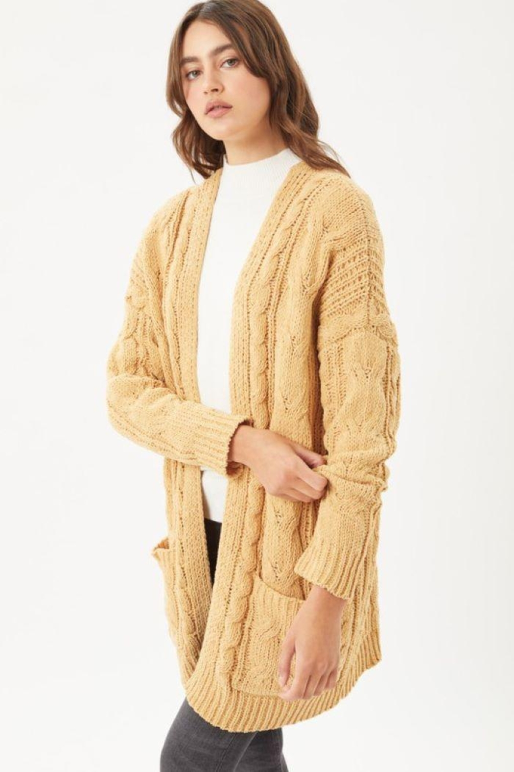 Love Tree Knitted Cable Ribbed Open Front Cardigan - Front Full Image
