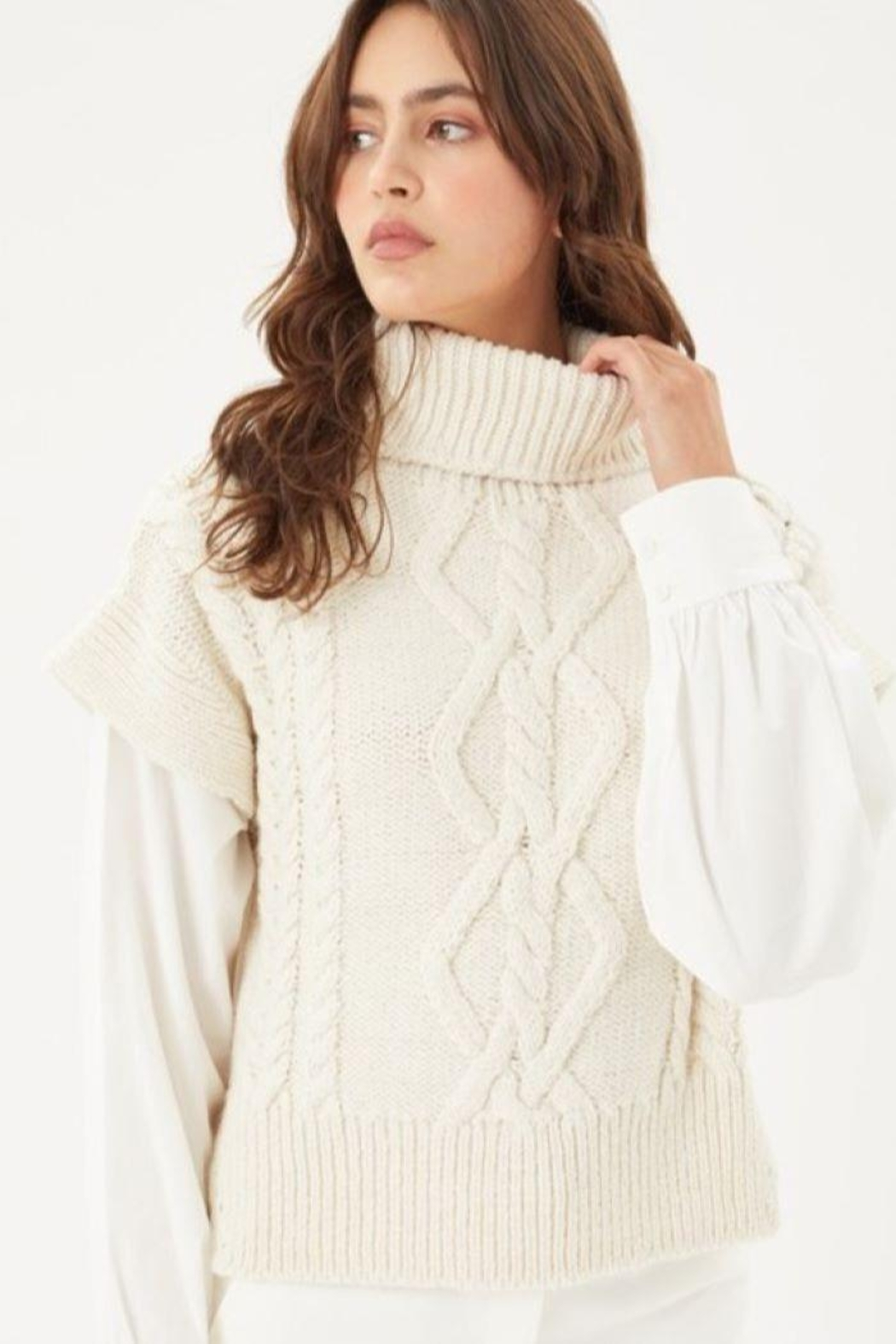 Love Tree Knitted Sweater Turtleneck Top - Front Full Image