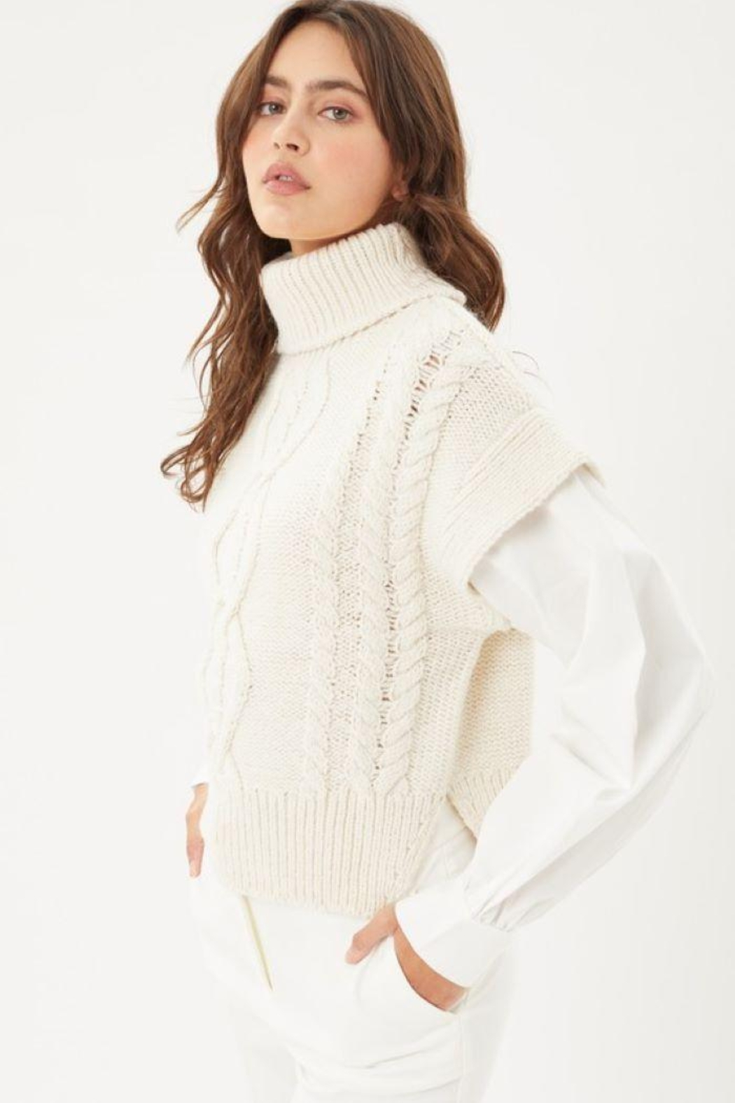 Love Tree Knitted Sweater Turtleneck Top - Side Cropped Image