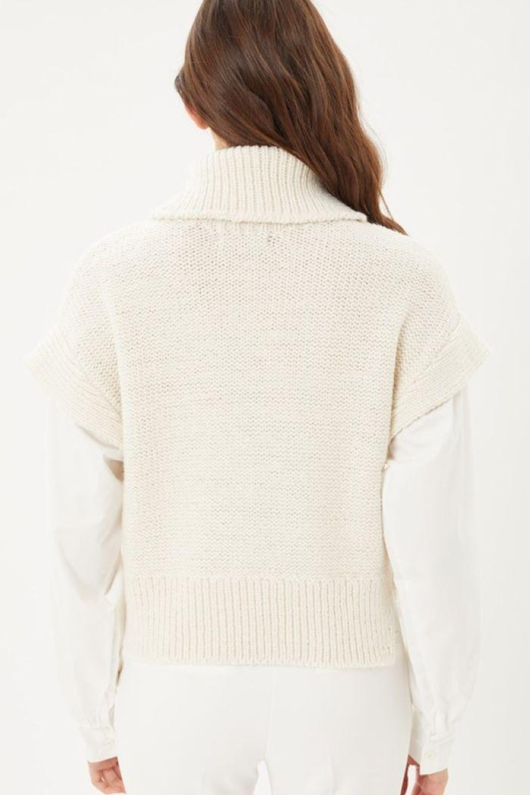 Love Tree Knitted Sweater Turtleneck Top - Back Cropped Image