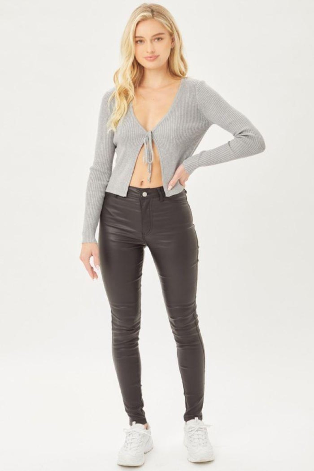 Love Tree Leather Pants With Skinny Fit - Front Cropped Image