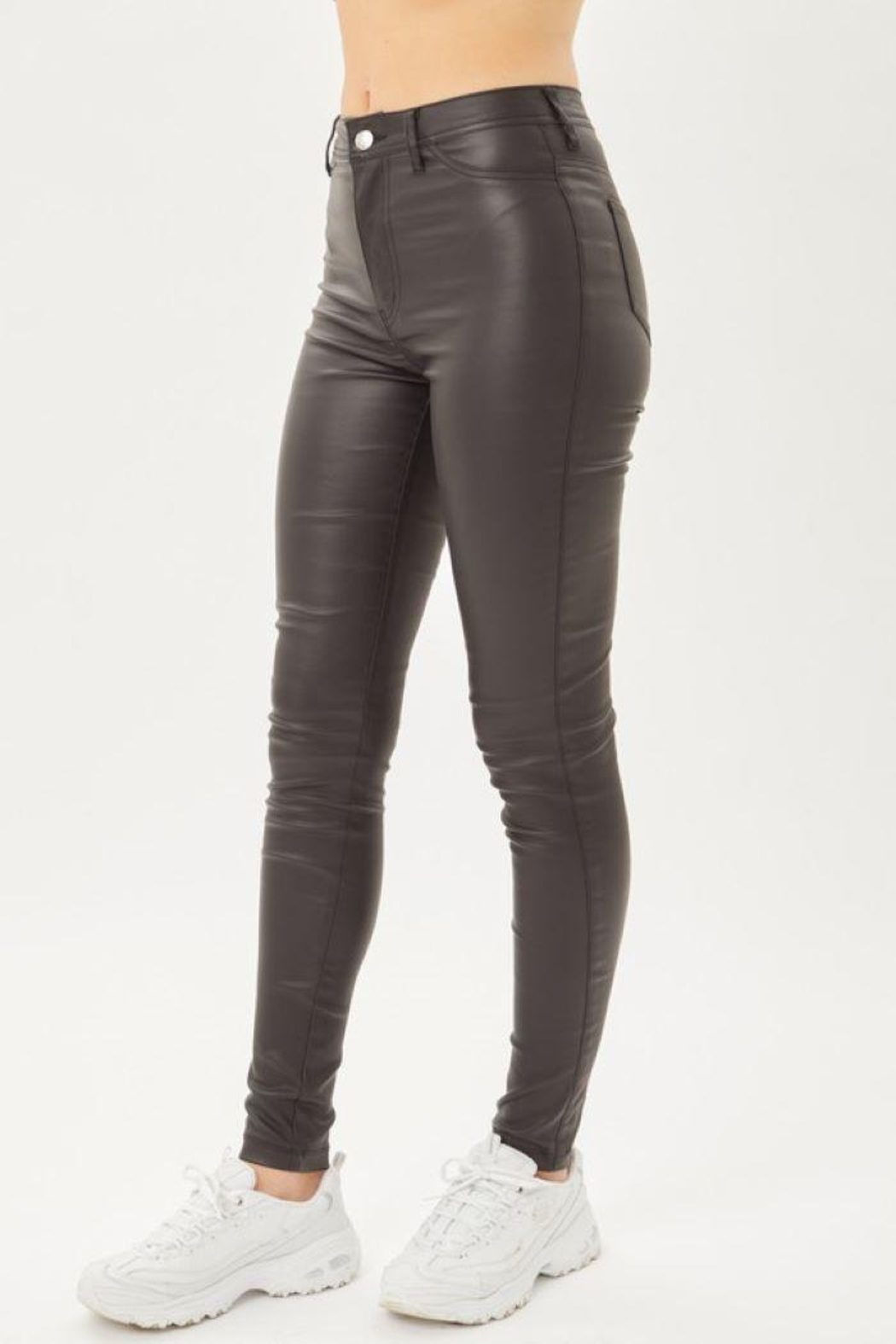 Love Tree Leather Pants With Skinny Fit - Main Image
