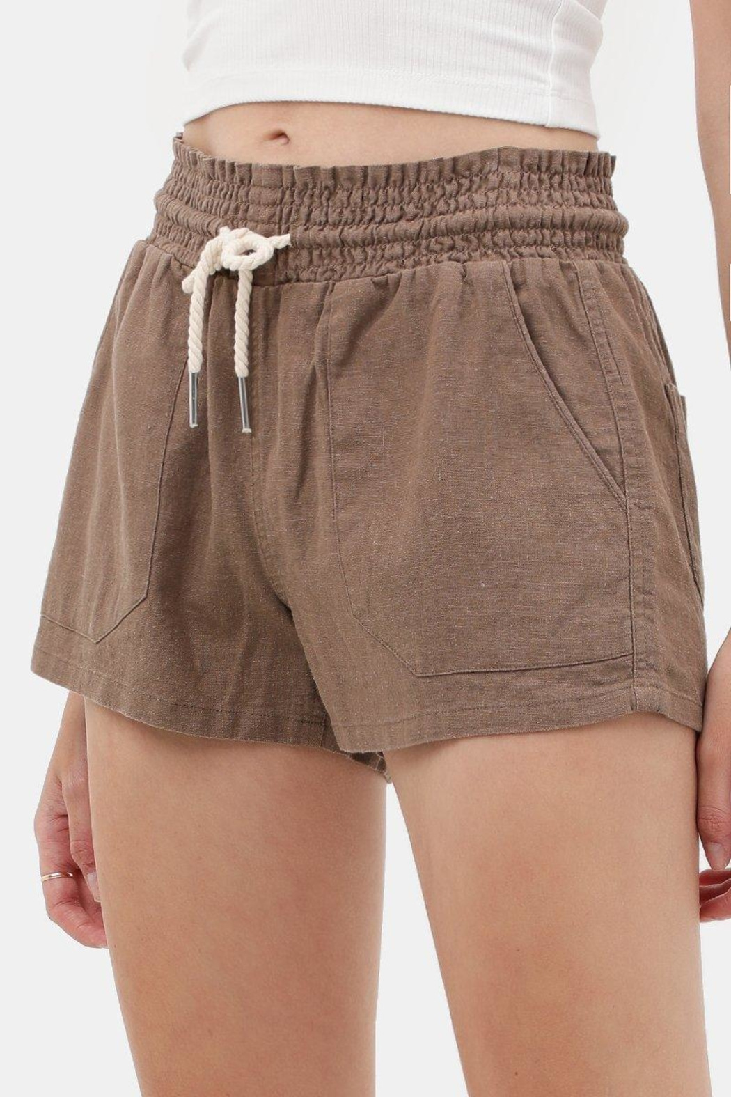Love Tree Linen Drawstring Shorts - Front Cropped Image