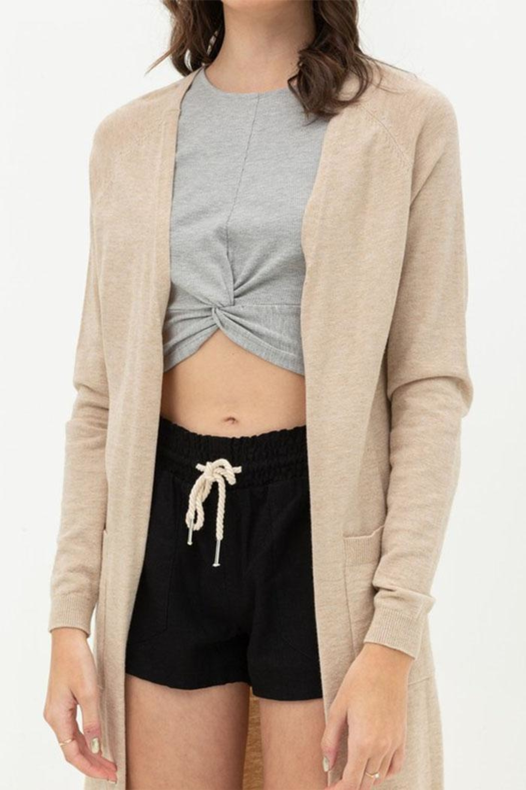 Love Tree Long Duster Cardigan - Back Cropped Image