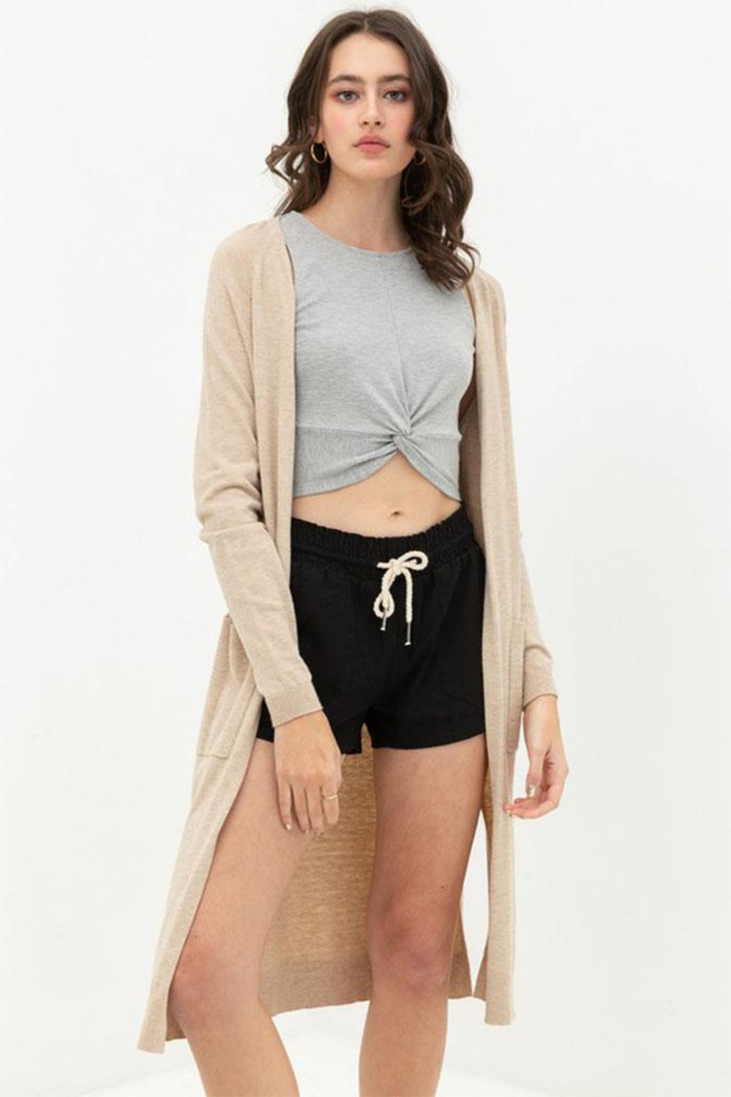 Love Tree Long Duster Cardigan - Front Cropped Image